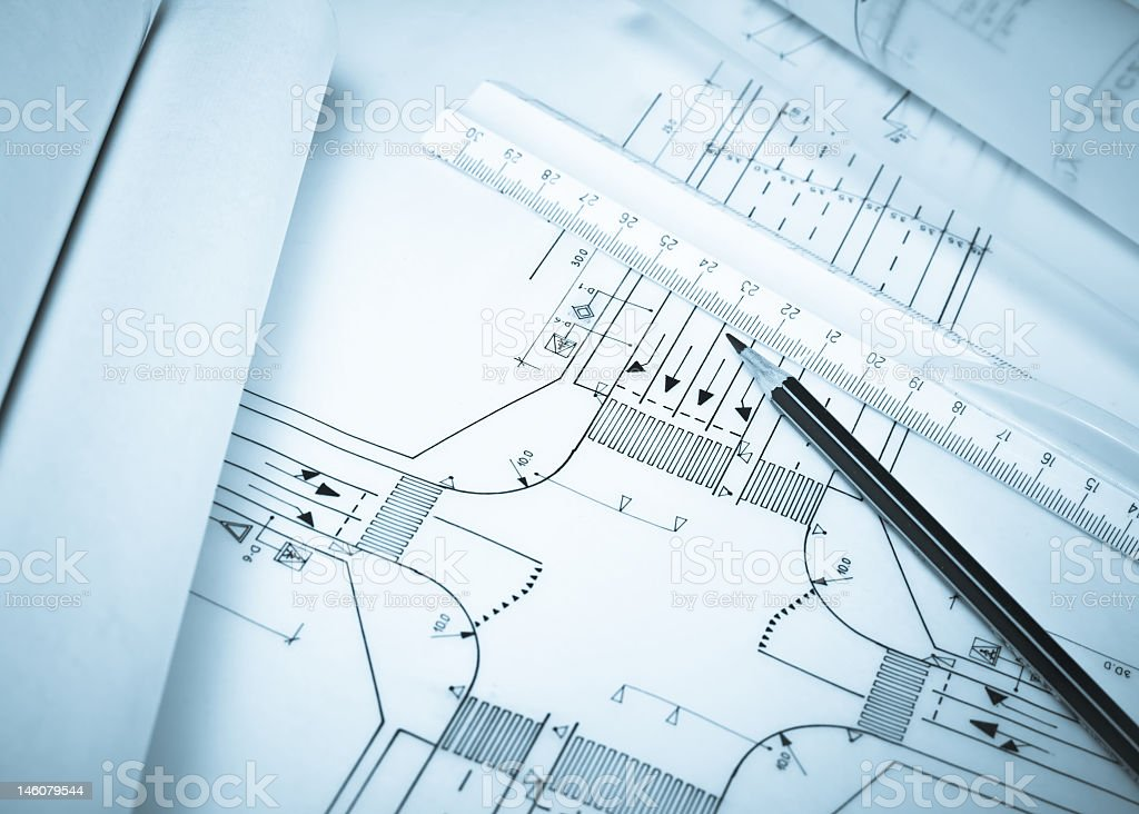 Photo of a crossroad planning with pencil and meter royalty-free stock photo