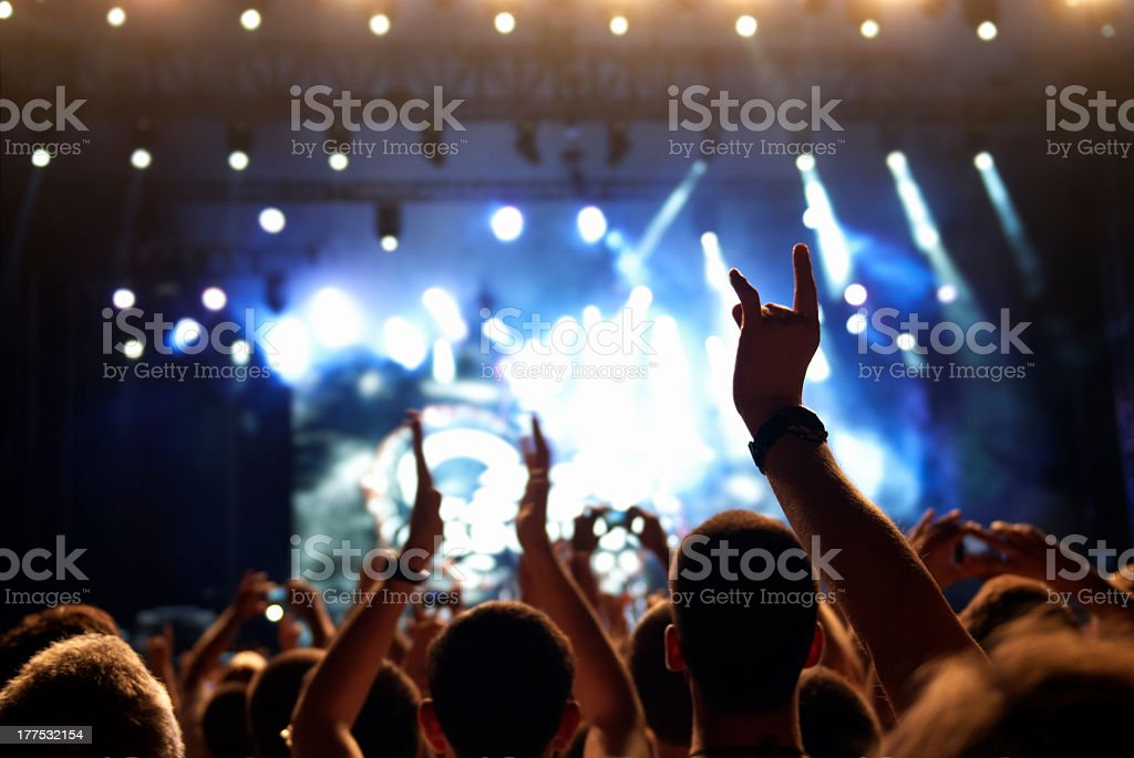 Photo of a crowd of people at a concert stock photo