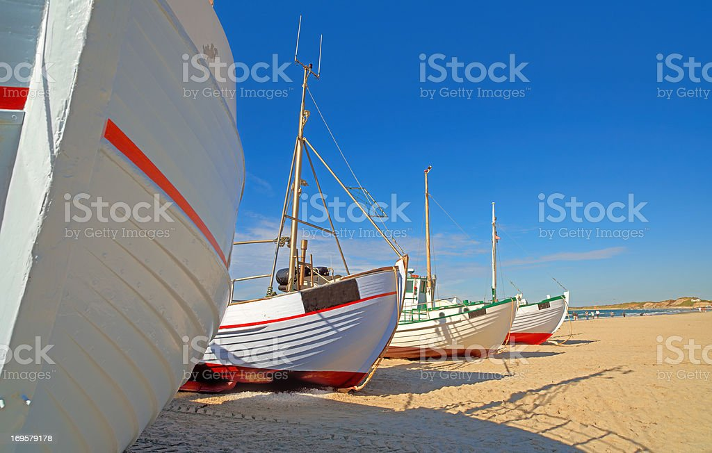 A photo of a Danish fishing boat at the beach royalty-free stock photo