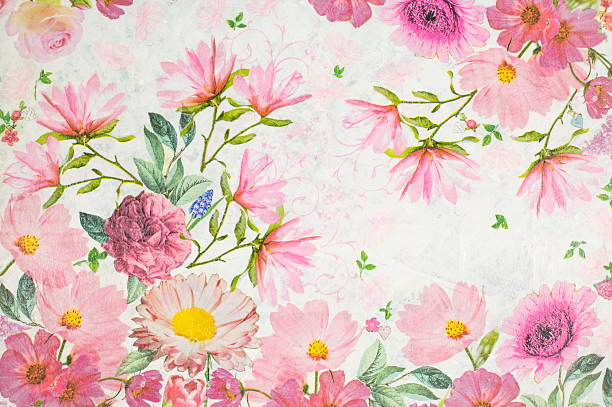 Photo of a decoupage decorated flower pattern stock photo