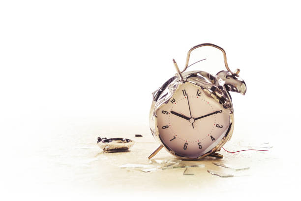 photo of a destroyed alarm clock stock photo