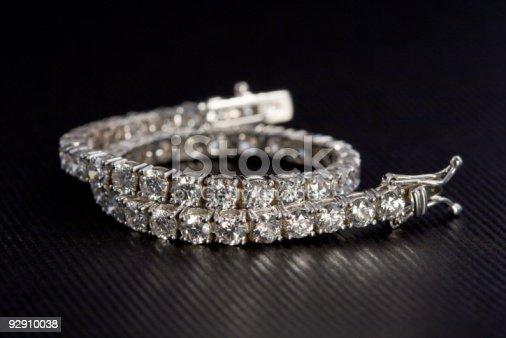 Diamond Tennis Bracelet set on a elegant black background.