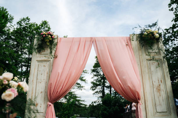 photo of a door and a curtain in a wedding stock photo