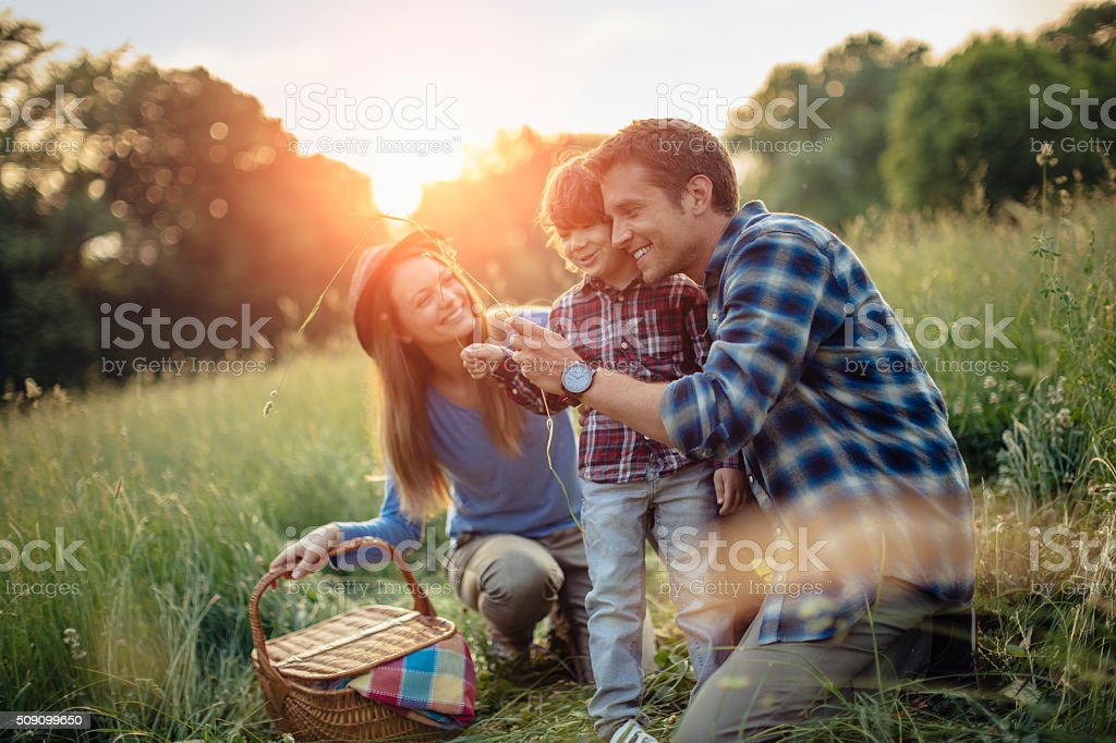 Photo of a family going for picnic stock photo