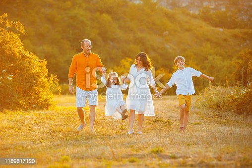 Photo of a family, walking in afield, and holding hands, enjoying the time