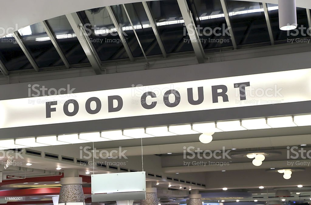 Photo of a food court sign in a mall stock photo