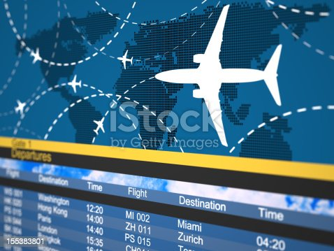 istock Photo of a generic airline schedule 155383801