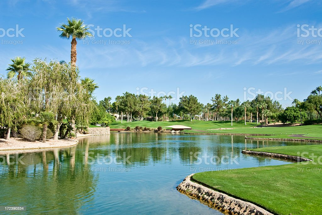 A photo of a golf resort on a sunny day stock photo
