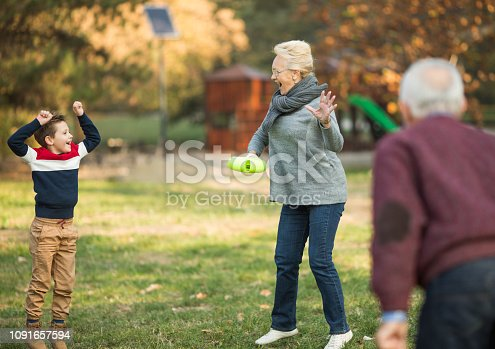 853720192 istock photo Photo of a grandparent playing with grandson outdoors 1091657594