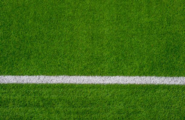 foto av ett grönt konstgräs sport fältet med vit linje skott från ovan. - single pampas grass bildbanksfoton och bilder