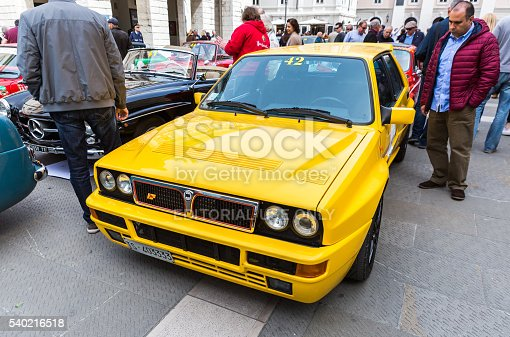 Trieste, Italy - April 3, 2016: Photo of a Lancia Delta Evoluzione on the Trieste Opicina Historic. Trieste Opicina Historic is regularity run for vintage and classic Cars.