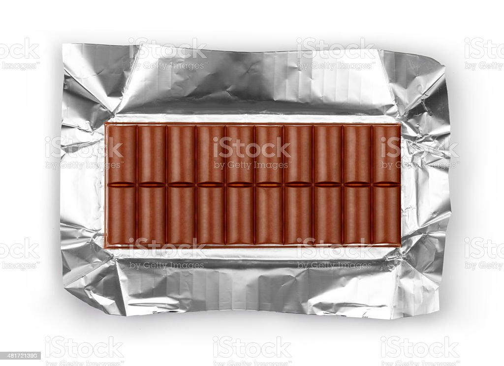 photo of a large bar of milk chocolate. stock photo