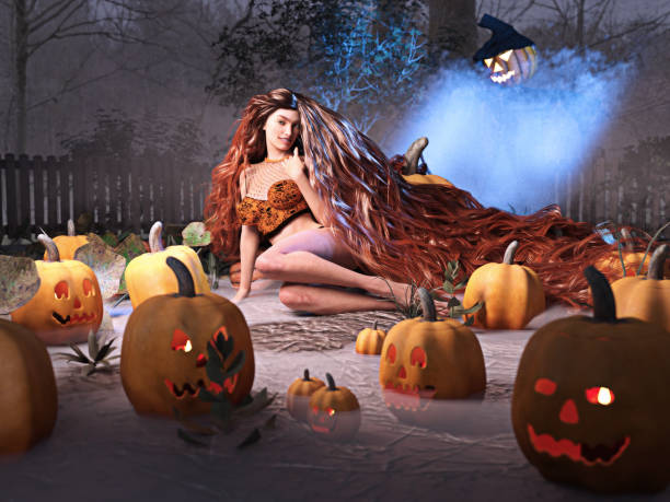 3D Photo of a Long-Haired Woman in a Pumpkin Patch