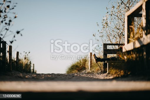 a man relaxing on the a country road
