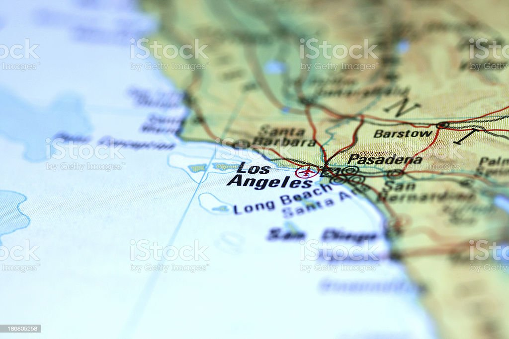 photo of a map zooming into Los angeles. royalty-free stock photo