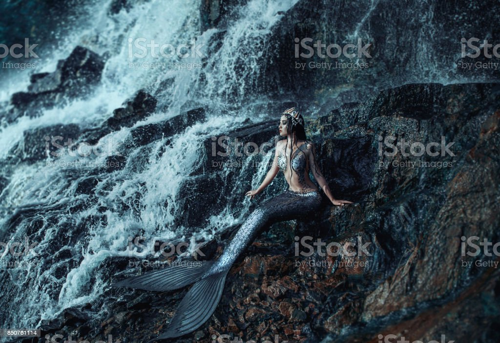 Photo of a real mermaid stock photo