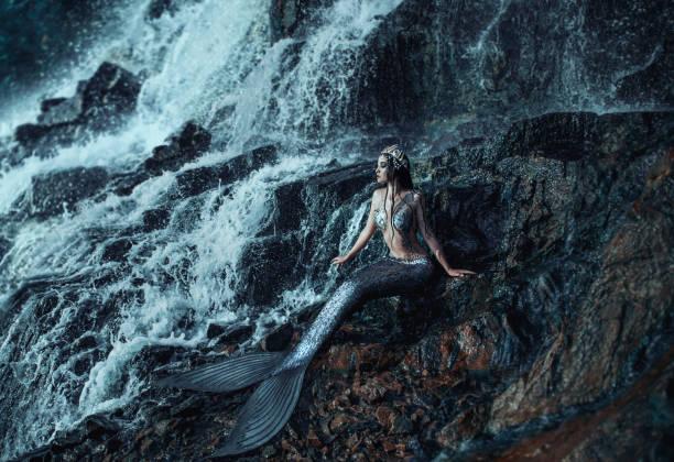 foto einer echte meerjungfrau - meerjungfrau wellen stock-fotos und bilder