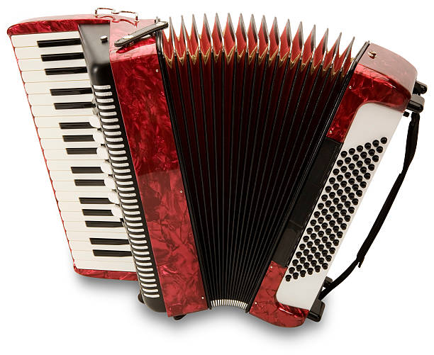 a photo of a red accordion stretched out - accordion stock photos and pictures