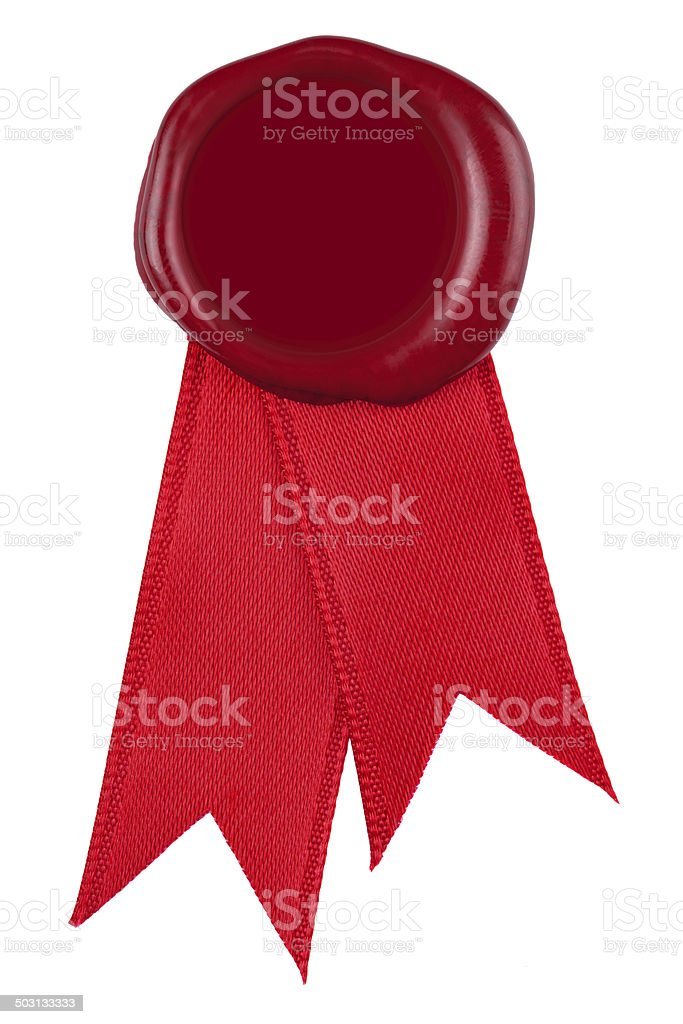 Photo of a red wax seal and ribbon. stok fotoğrafı