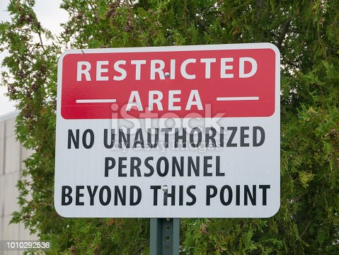 istock Photo of a restricted area authorized personnel only signage 1010292536