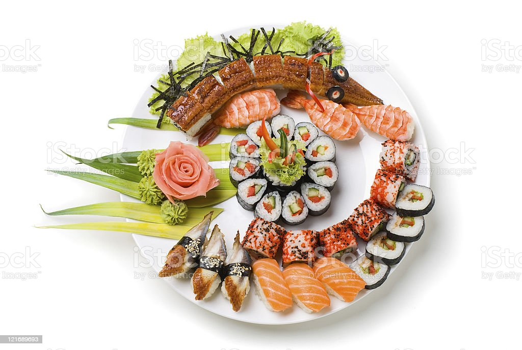Photo of a rolled and sushi royalty-free stock photo