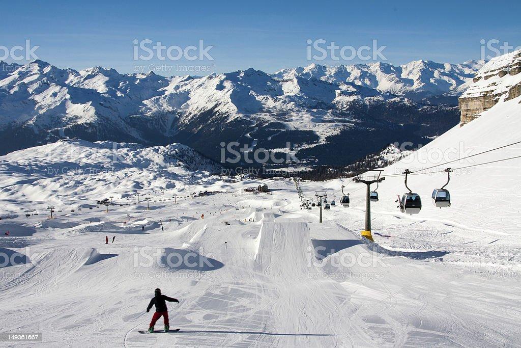 Photo of a snowy mountaintop snowboard run stock photo