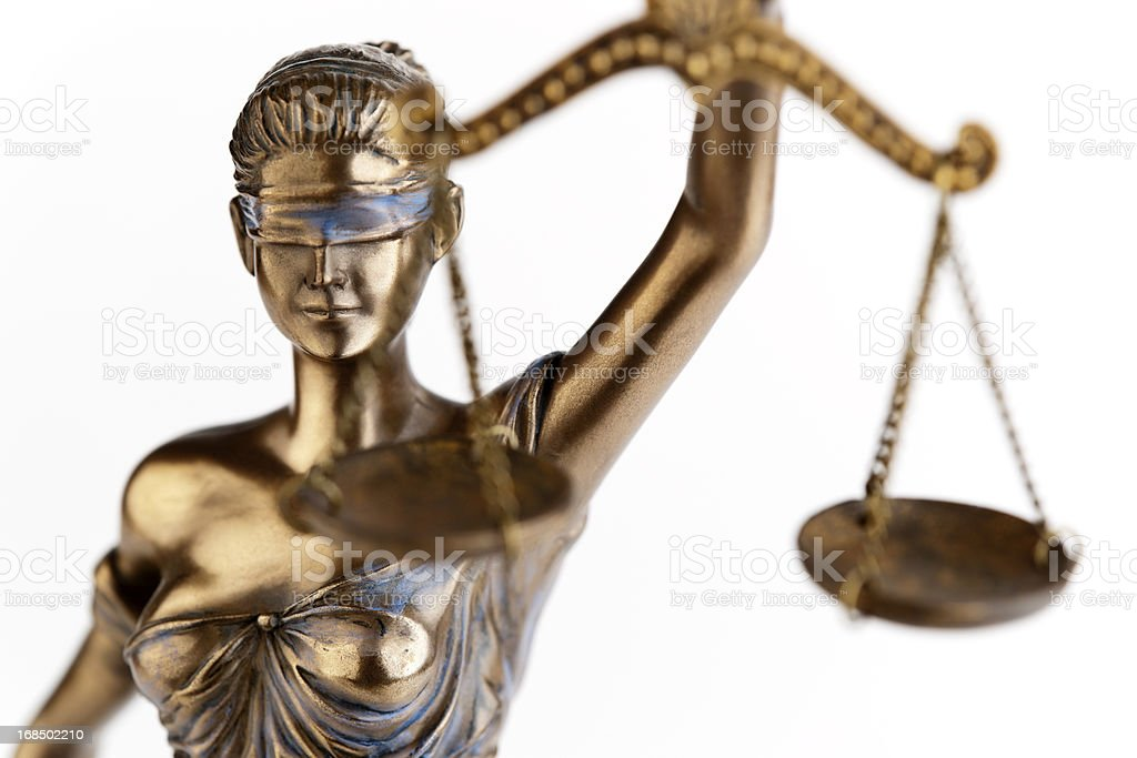 Photo of a statue of Themis, blindfolded justice with scales stock photo