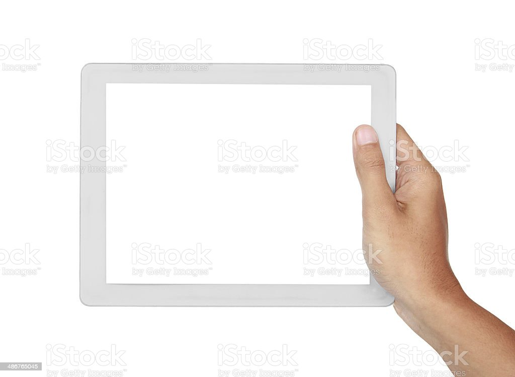 photo of a tablet held by hand horizontally stock photo