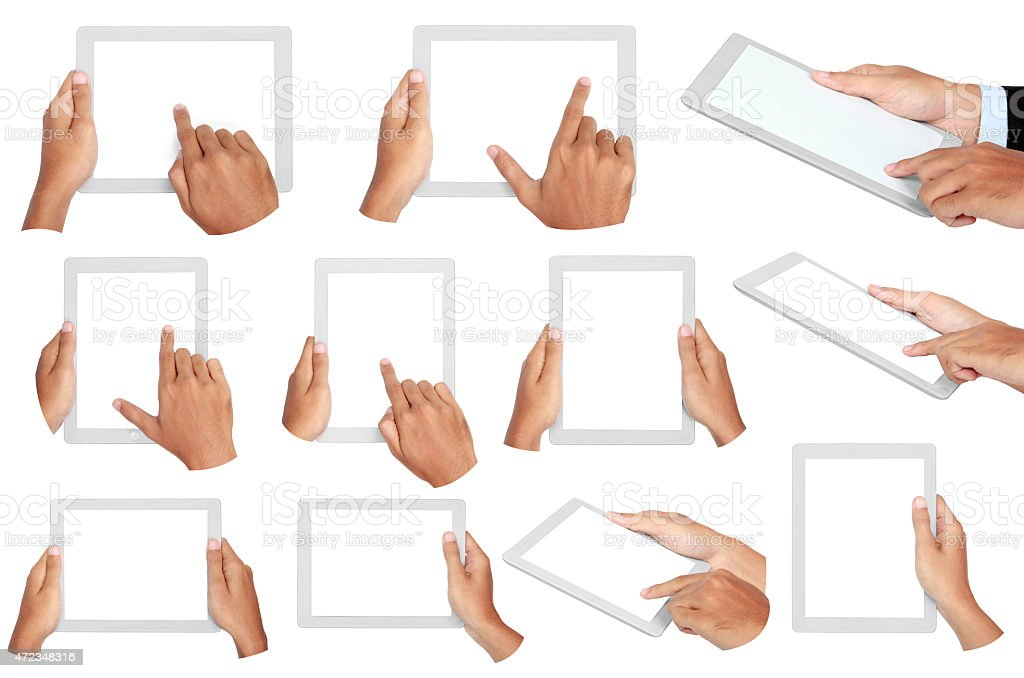 photo of a tablet held by two hands stock photo