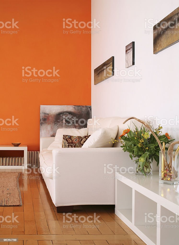 Photo of a white sofa in the living room stock photo