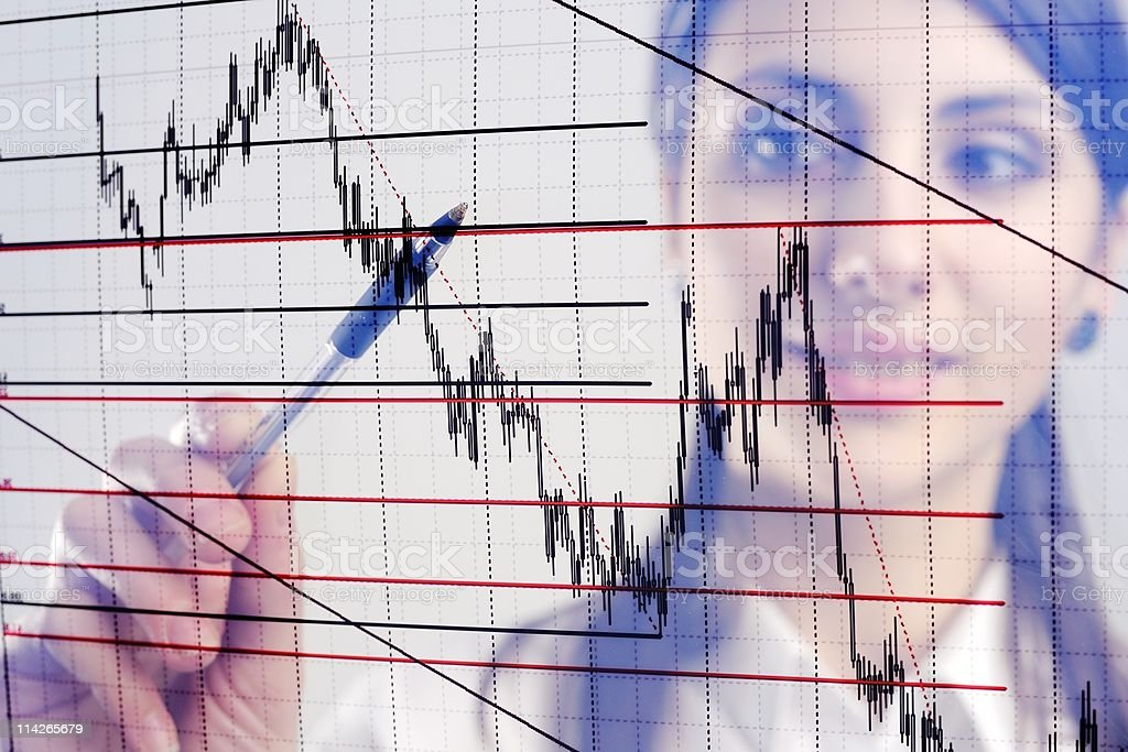 A photo of a woman with a graph superimposed over the top royalty-free stock photo
