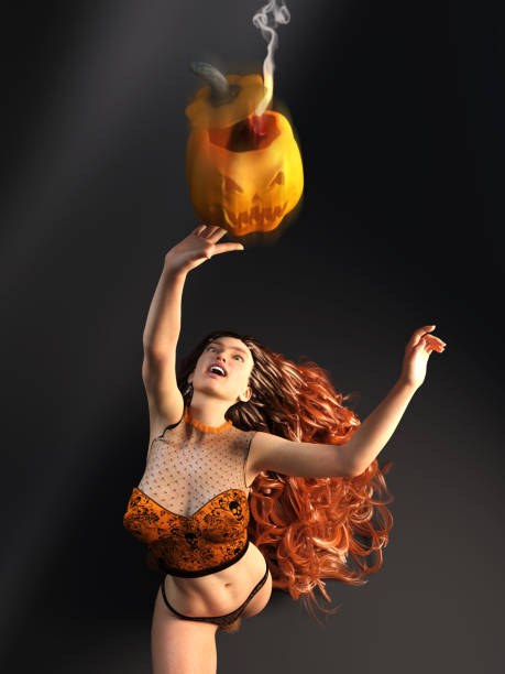 3D Photo of a Young Woman Throwing a Halloween Pumpkin