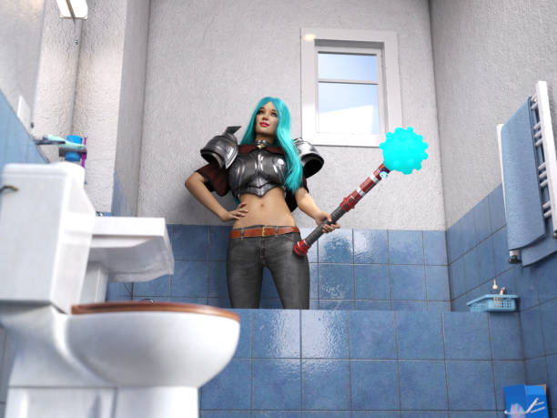 3D Photo of a Young Woman with Armor Standing Inside her Bathtub