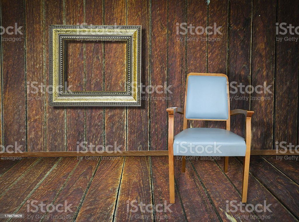 Photo of abstract grunge shabby interior with single chair, copy royalty-free stock photo