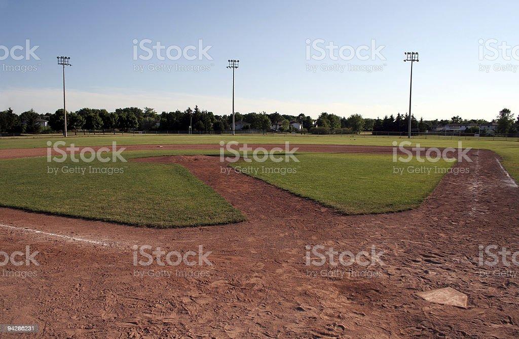 Photo of an empty baseball diamond royalty-free stock photo