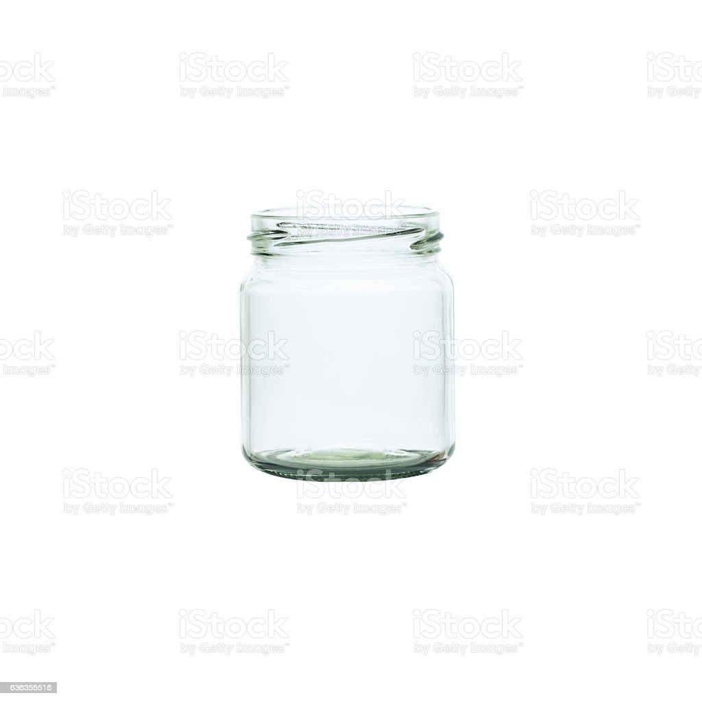 Photo of an Empty glass jar isolated on white stock photo