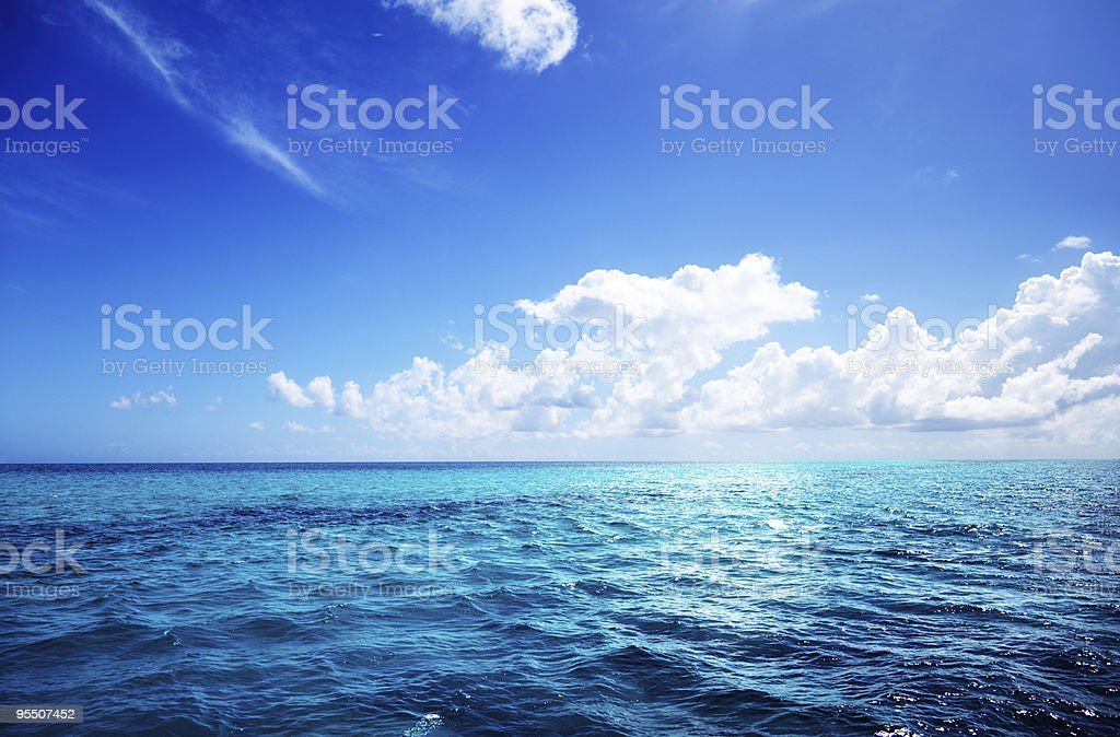 Photo of an ocean with a perfect blue sky royalty-free stock photo