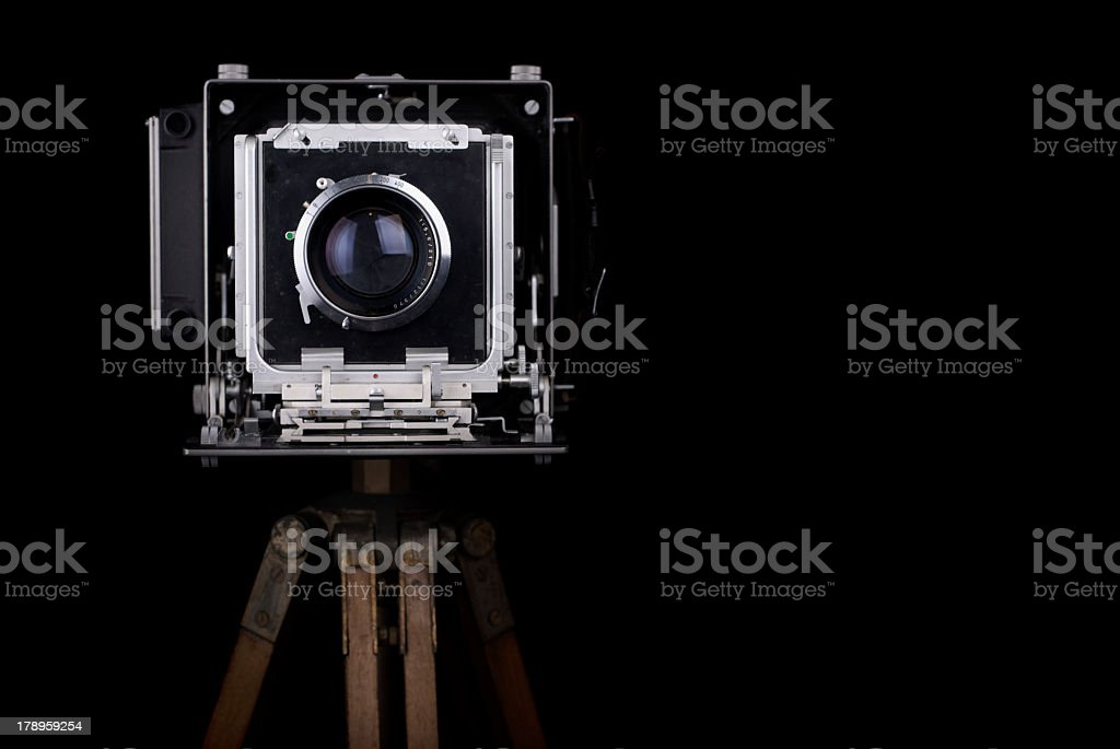 Photo of an old vintage camera on a brown wooden stand stock photo