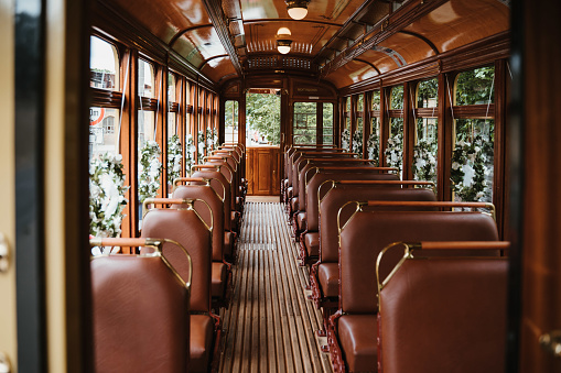 an old wedding tram with flowers