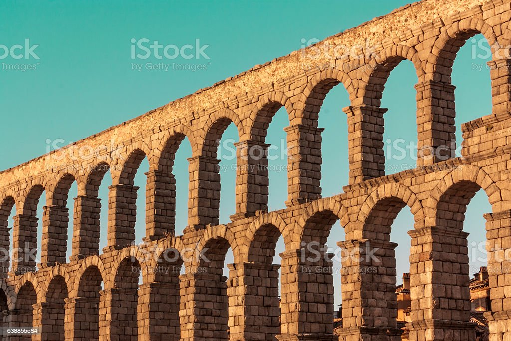 Photo of ancient Roman aqueduct in Segovia, Spain stock photo