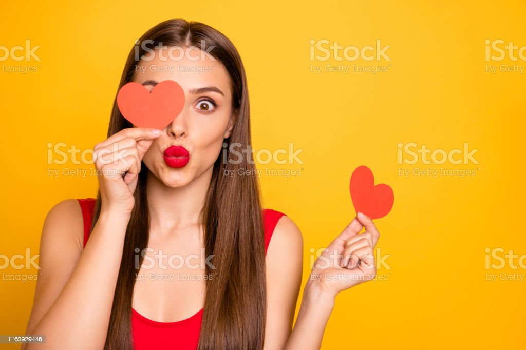 Photo of beautiful lady send air kiss hands heart shape postcards...