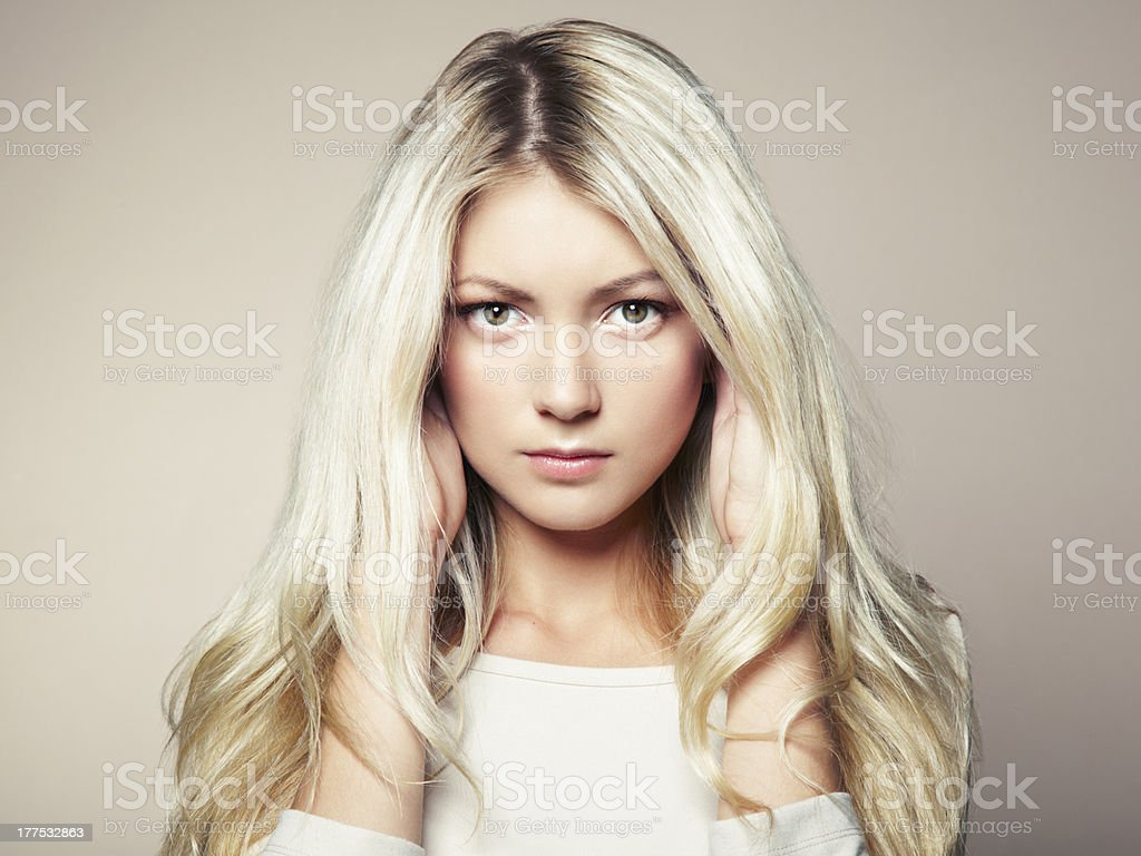 Photo of beautiful woman with magnificent hair stock photo