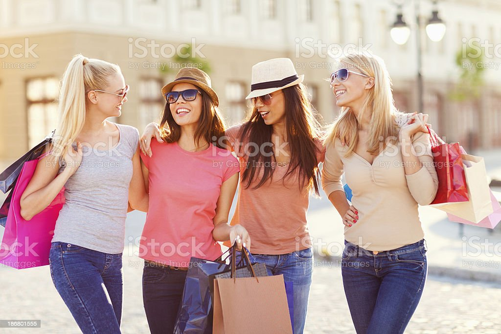 Photo of best friends shopping royalty-free stock photo