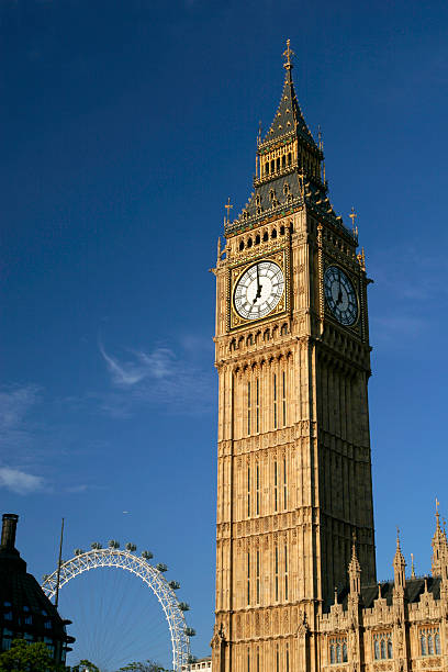 Photo of Big Ben and London Eye with a sky view background stock photo