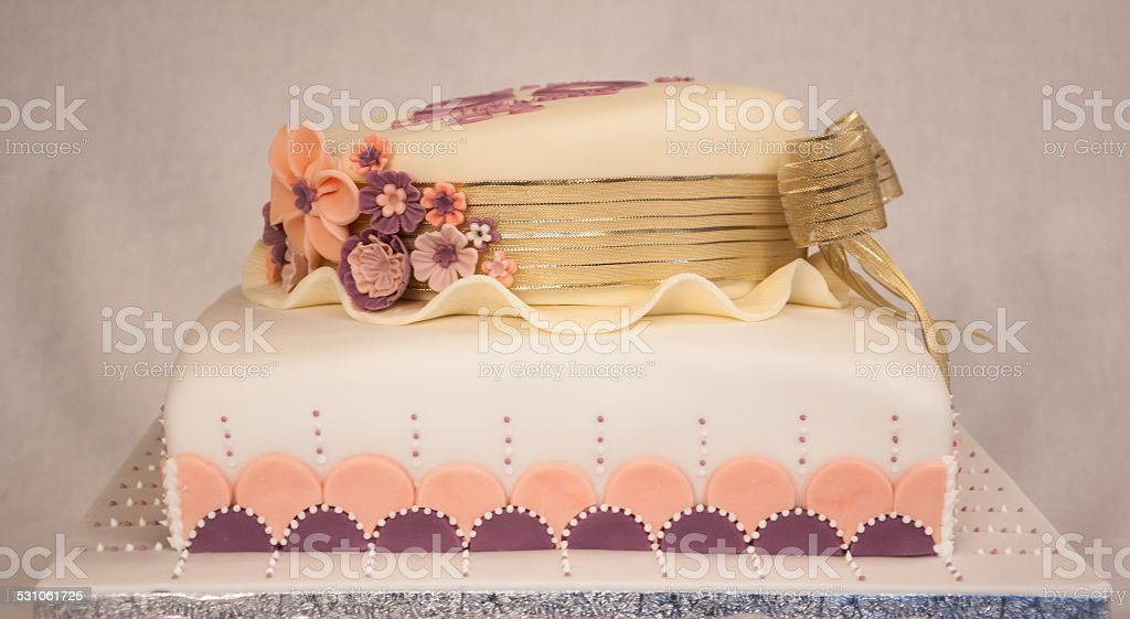 Photo Of Birthday Cake Hat Shape Art Nouveau Flowers Royalty