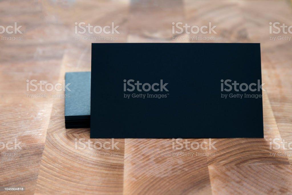 Foto Der Schwarzen Leere Visitenkarten Auf Holz Hintergrund