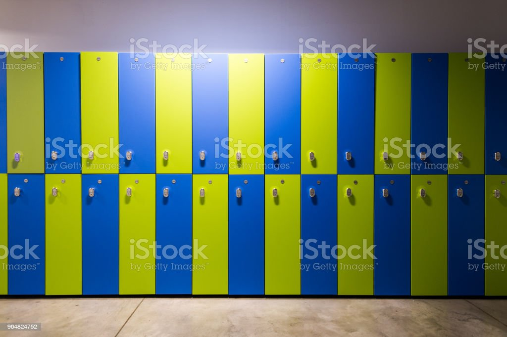 Photo Of Blue and green Lockers In The gym royalty-free stock photo