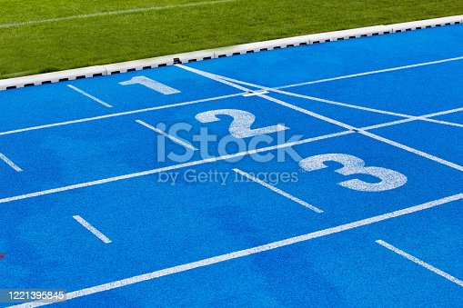 istock Photo of blue stadium tracks 1221395845