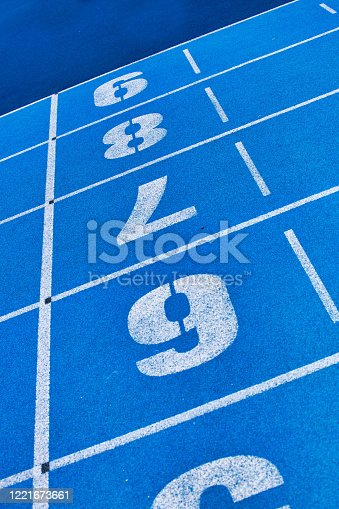 istock Photo of blue stadium tracks 1221673661