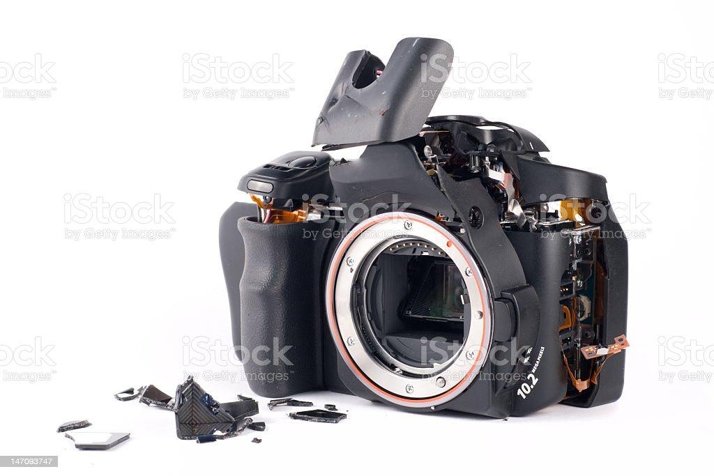 Photo of broken DSLR camera body stock photo
